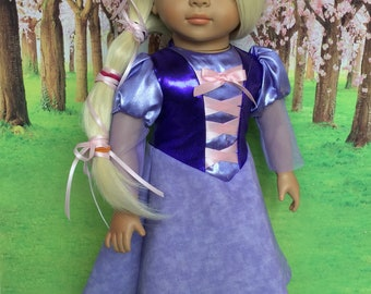 Girl Doll Rapunzel, Tangled hair Princess for Girl Doll, Girl doll purple princess, Tower princess, Fits like American.Girl doll clothes