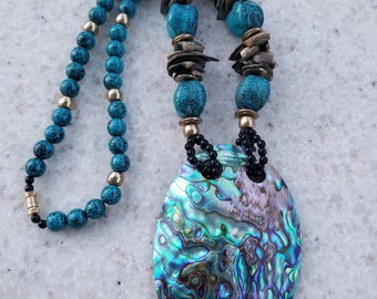 Vintage Chunky Shell and Beaded Necklace, Boho Chic Abalone Necklace, Gift for Her