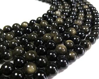 8mm Gold Black Obsidian Beads Round Polished Natural Gemstone Loose 15'' Full Strand