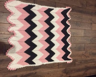 Handmade Crochet Chevron Baby Blanket