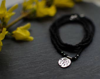 Sterling silver necklace, custom, black seed beads, flower, delicate, feminine, minimalist