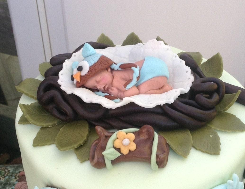 OWL BABY SHOWER Cake topper Woodland baby shower nursery owl