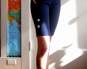 Shorts 50s Capris High Waisted Navy Blue Nautical Cotton Pin Up VLV size XS S