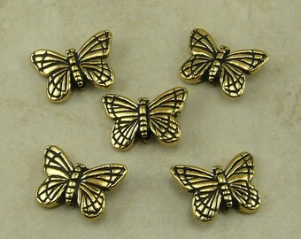 5 TierraCast Monarch Butterfly Beads > Insect Garden Mothers Day Spring Flower 22kt Gold Plated Lead Free Pewter I ship Internationally 5520