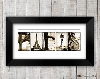 PARIS  Decor in  Alphabet Photography, Unframed , Letters from Paris, Paris Art, Paris Poster