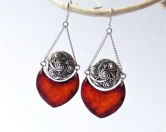 Ethnic Celtic Earrings, red scarlet, oriental, bohemian, gypsy, polymer clay, black red, silvered chain, ooak unique woman jewelry red gift