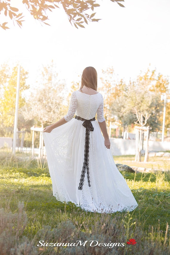 Dress Dress Dress SuzannaM Chiffon long Dress Long Ivory by Bridal Lace Wedding Wedding Gown Bohemian Sleeve Designs Wedding Wedding Gown FqnSwOx0