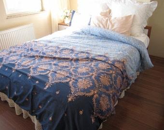 Expedited fast shipping Dorm room Bedding Pink Blue Navy Damask print TWIN XL duvet cover  - romantic bedroom dorm bedding Nurdanceyiz