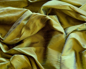 "Iridescent Yellow Blue Dupioni Silk, 100% Silk Fabric, 44"" Wide or 54"" Wide, By The Yard (S-175)"