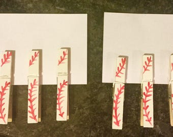 Baseball Stitches Pin Pals fancy clothes pins