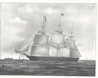 Antique 1904 Print of the Sailing Ship Typhoon, built in 1851