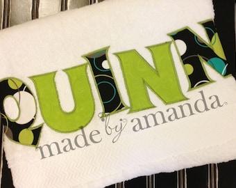 Hoopla Dot & Green -- Bath Towel -- Personalized Applique
