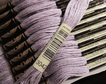 Light Antique Violet #3042, DMC Cotton Embroidery Floss - 8m Skeins - Available in Single Skeins, Larger Pkgs & Full (12 skein) Boxes