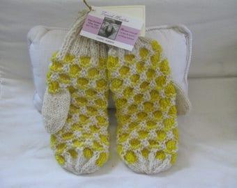 yellow and white wool mitten
