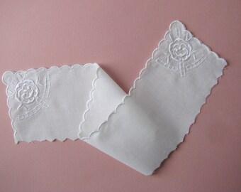 Fabric insert, 38 cm, white embroidered white cotton.
