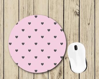 Pink Hearts Mousepad - Pretty Office Decor - Gift for Her - Student Gift - Dorm Decor - Teacher Appreciation Gift - Boss Gift - Desk Decor