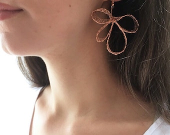 Knitted Copper Earrings