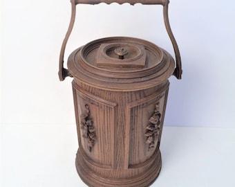 Retro Ice Bucket, Faux wood Fiberglass ice bucket by Corning, Tall Ice bucket