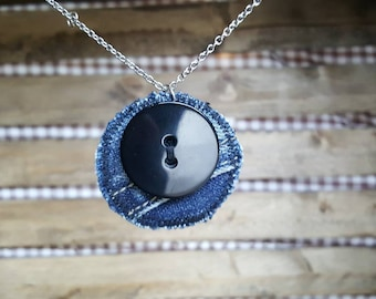 Hypoallergenic stainless steel and jeans and recycled button pendant necklace