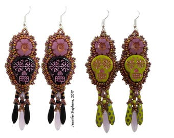 Pushing Daisies - a sugar skull  earring bead embroidery kit