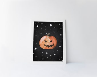 jack o lantern digital print · pumpkin printable · watercolor · scary pumpkin · halloween art print · halloween printable · chalkboard print