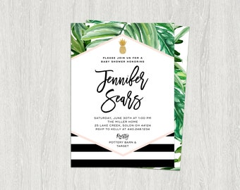 Tropical Baby Shower Invitation, Banana Leaf Invitation, Palm Invitation, Black, White and Gold | DIY | Customized Printable (5x7)