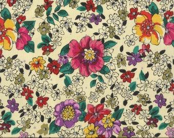 Bright Rainbow Colored Floral w/ Silver Polka Dots Cotton Fat Quarter Fabric