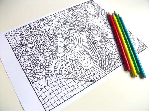 Mindfulness Coloring Pages Pdf : Zentangle inspired coloring page printable pdf zendoodle