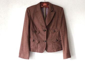 Vintage Tweed Blazer Women Brown Garnet Wool Jacket Medium Size