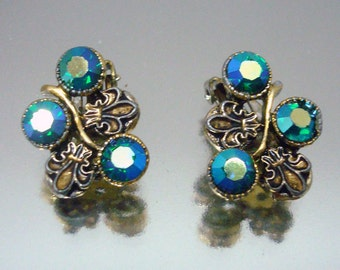 Blue Aurora Borealis Rhinestone Fleur de Lis Earrings Vintage