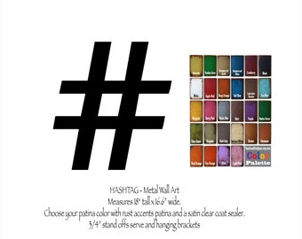 "Hashtag # metal wall art - 18"" tall - choose your color with rust patina - twitter symbol - hashtag sign metal wall art geekery wall art"