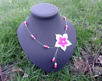 Wired necklace pink pearls and white