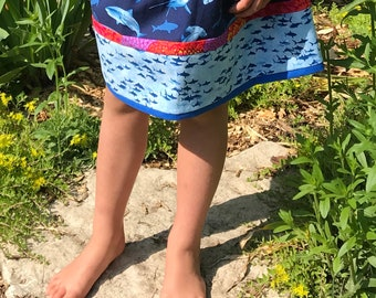 Shark skirt, girls shark skirt,girls skirt size 6, size 7