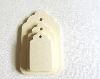 30 Small Cream Tags, Manila Tags, Thanksgiving Table, Gift Tags, Party Favor Tags, Scalloped, Price Tags, Mini Tags, Weddings, Showers