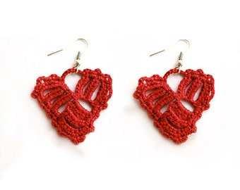 Crocheted Pattern, Heart Earrings Pattern, Tutorial Crochet Pattern, Dangle Earrings -27
