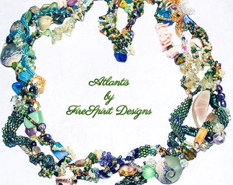 Atlantis- beadwoven necklace- handmade necklace- freeform Peyote necklace- sculptural Peyote necklace- gift for her- handwoven necklace