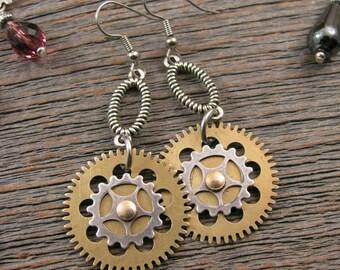 Steampunk Style Earrings - Watch Gear - Brass Clock Gears - Industrial Style - Mixed Metal Steampunk Gear Dangle Earrings