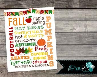 Fall subway art printable, Fall decor printable file, DIY fall decor print, autumn subway art decor, subway art for fall, Fall decorations