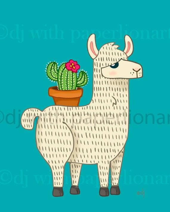 Llama Carrying Cactus 8x10 Print **FREE SHIPPING**