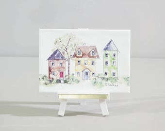 Mini painting, Architectural art, watercolor with easel,  bright urban buildings, desk art, home decor, neighborhood painting, gift
