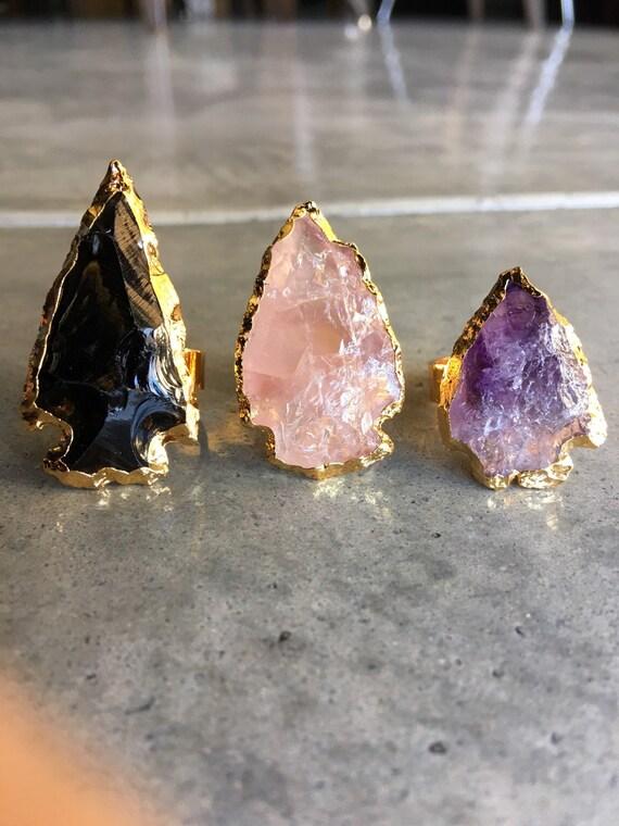 Arrow rings, raw Crystal