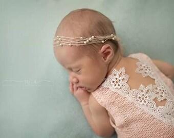 Adalyn--SALE--Newborn Lace Romper-- Newborn Outfit-- Newborn Photo Prop-- Baby Girl Romper