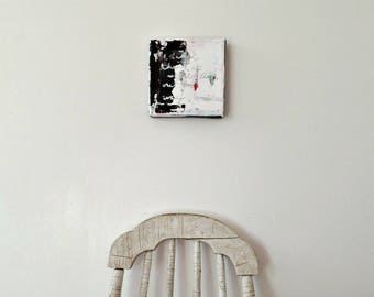 Small abstract painting, Black and white abstract art, Square art, Original artwork, Modern art painting, Art gifts, Contemporary art