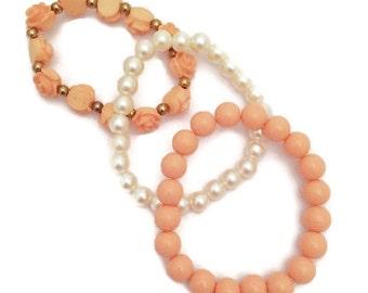 Beaded Bracelets, Peach Bracelets, Pearl Bracelet, Stack Bracelets, Stretch Bracelets, Elastic Bracelets, Boho Bracelets, Three Bracelets