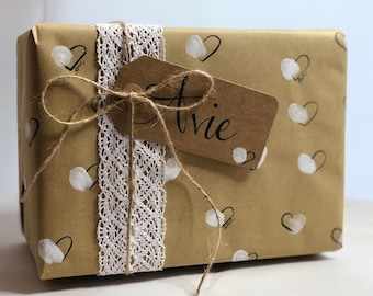 Hand-painted, hearts wrapping paper, tags and twine