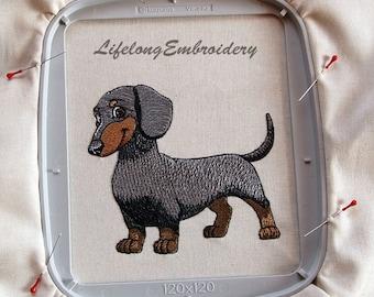 A Digital Machine Embroidery Dachshund  Design