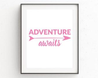 Pink White Wall Decor, Pink White Art, Inspirational Quote, Pink Print Art, Adventure Awaits Wall Print, Adventure Wall Print, Nursery Art
