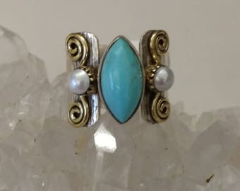 Blue Copper Turquoise and Pearl Ring Size 5 1/2