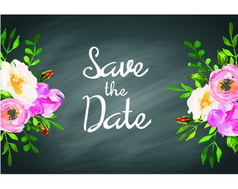 "Chalkboard Floral - Wedding Save The Date Postcards - 4""x6"""