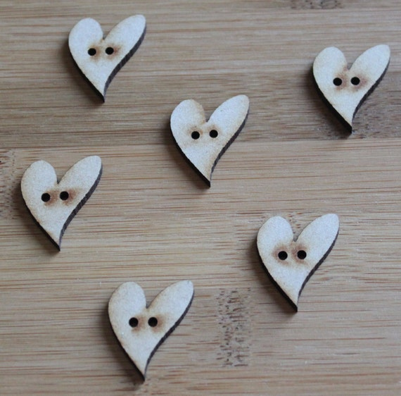 8 pieces. Love Heart buttons, 2.2 cm Buttons -Acrylic and Wood Laser Cut-Jewellery Supplies-Little Laser Lab Wood and Acrylic Products